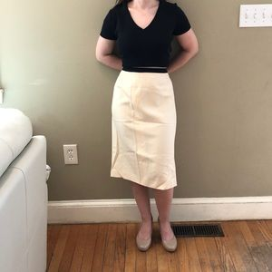 Escada 38 cream skirt with car wash hem